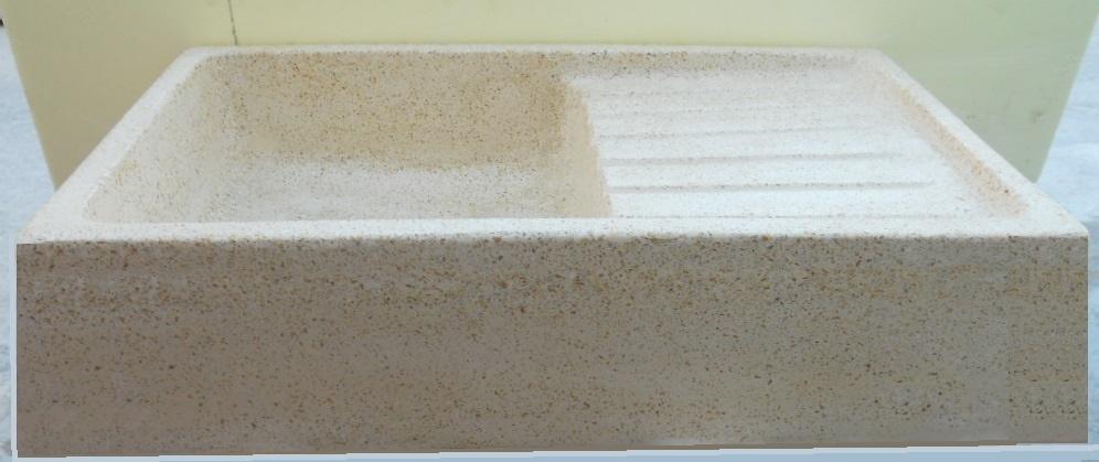 lavello cucina in graniglia levigato beige cm 80x50x20h lavello cucina